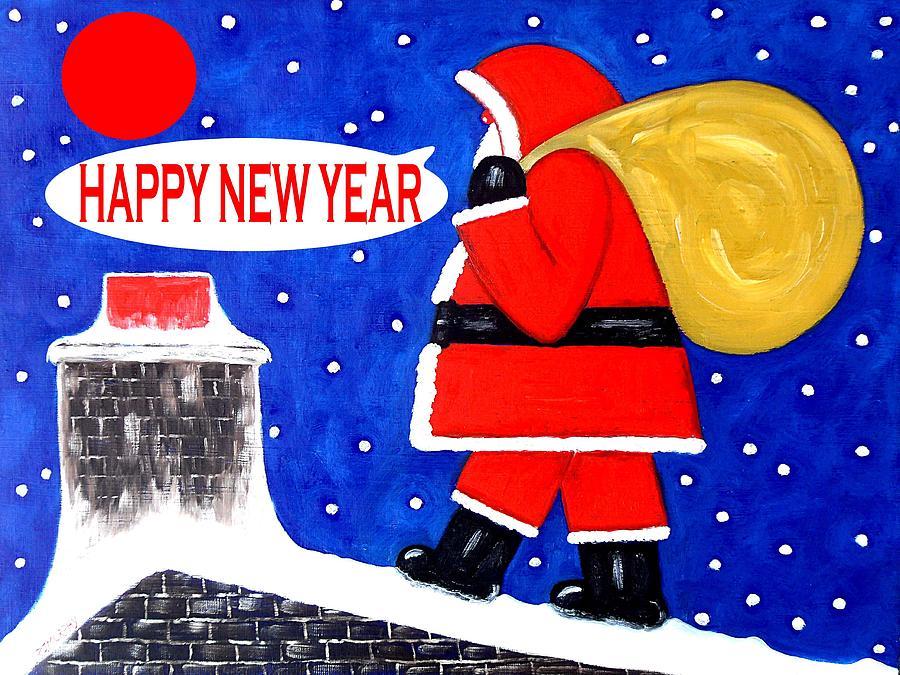 Santa Painting - Happy New Year 48 by Patrick J Murphy