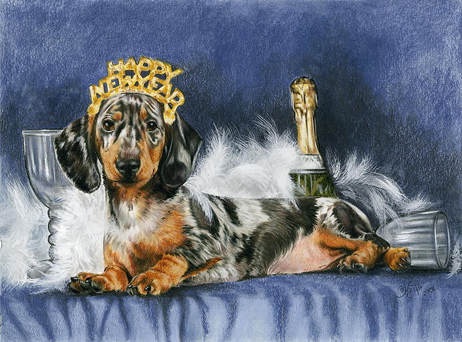Dog Mixed Media - Happy New Year by Barbara Keith