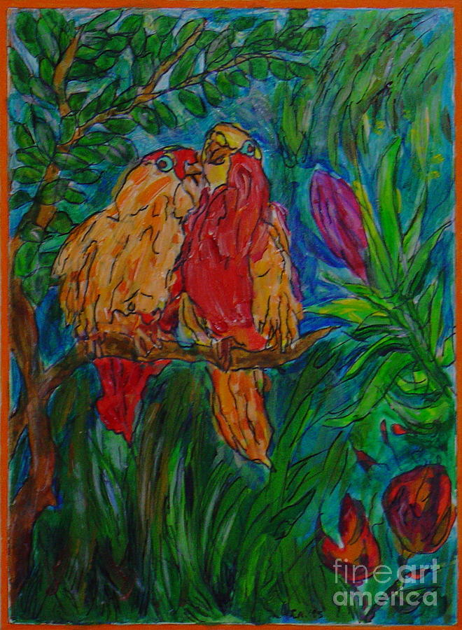 Happy Pair Painting by Leila Atkinson