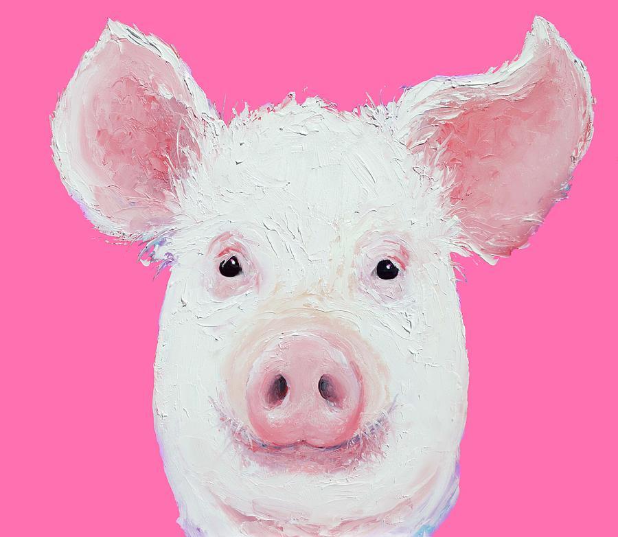 Pig Painting - Happy Pig Portrait by Jan Matson