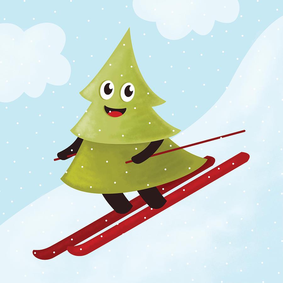 Tree Digital Art - Happy Pine Tree On Ski by Boriana Giormova