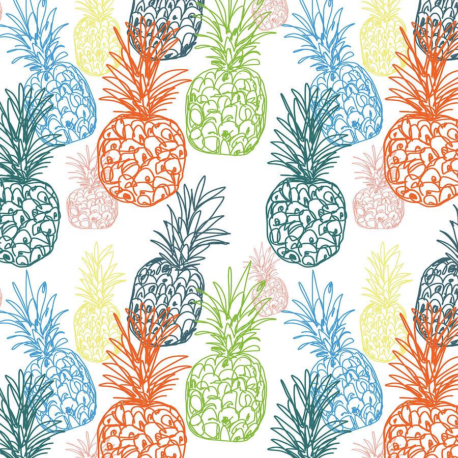 Pineapple Digital Art - Happy Pineapple- Art by Linda Woods by Linda Woods