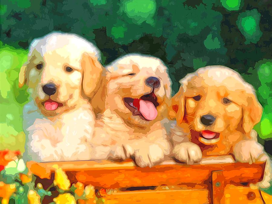 Happy Puppies Digital Art by Maciek Froncisz