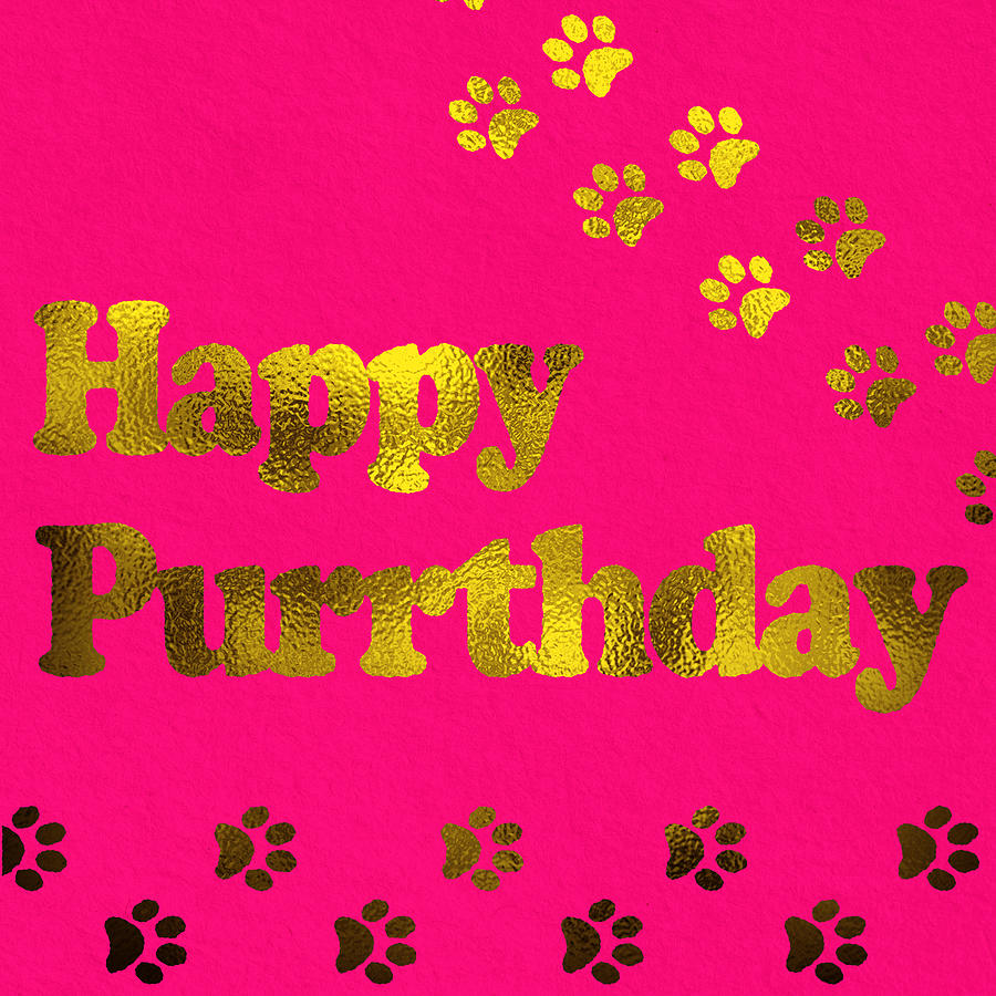 Happy Purrthday Pink Digital Art