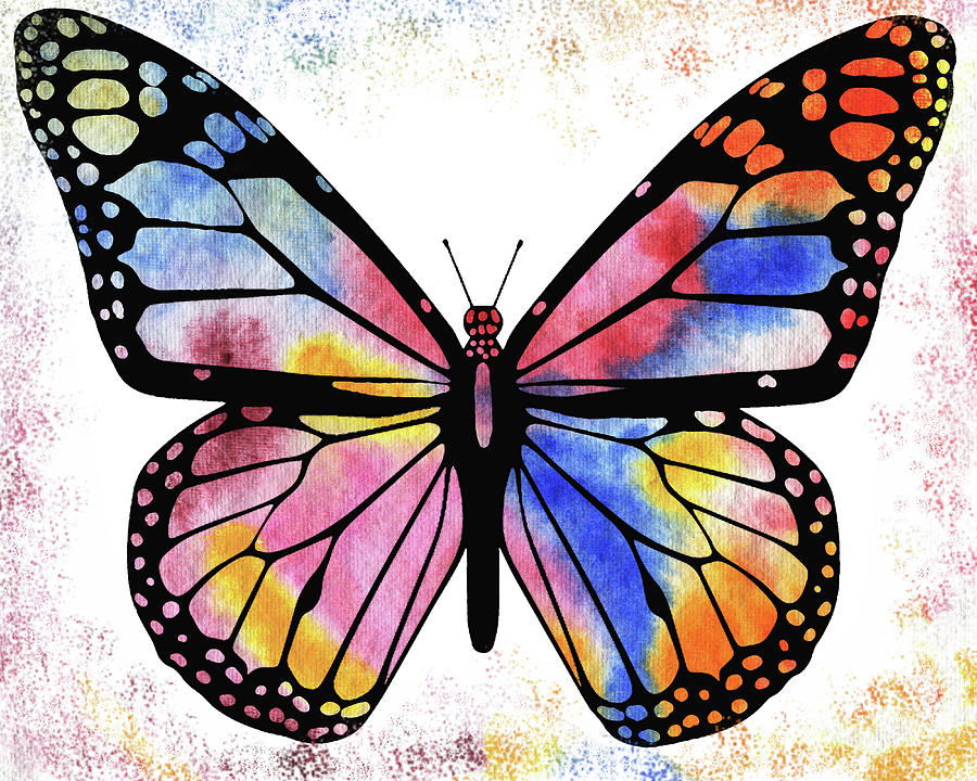 Happy Rainbow Butterfly Painting