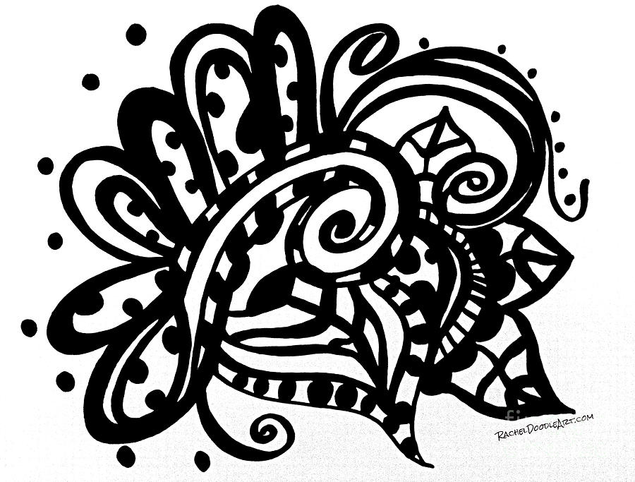 Doodle Drawing - Happy Swirl Doodle by Rachel Maynard