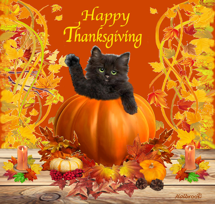 happy thanksgiving kitty digital art by glenn holbrook autumn tree clip art black and white Autumn Leaf Clip Art