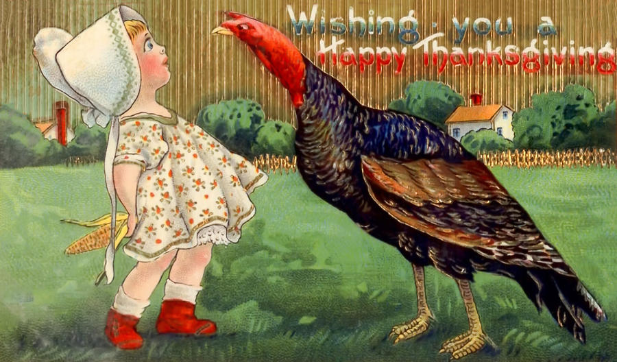Happy Thanksgiving Little Girl And Turkey Vintage Postcard Photograph By Black Brook Photography