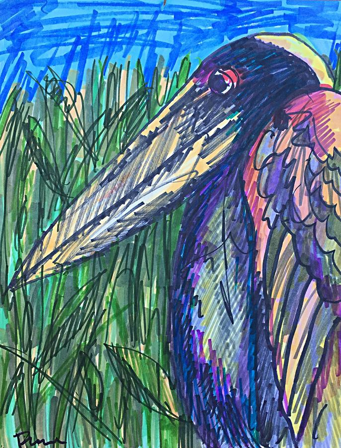 Heron Drawing - Codys Critters - Happy the Night Heron by George Frayne