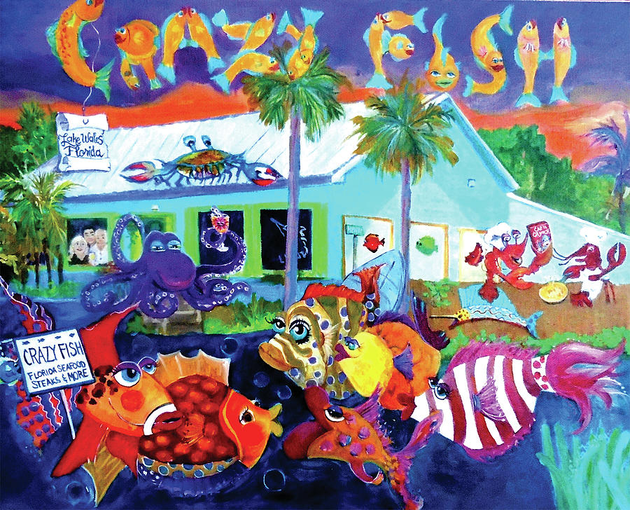 Funky Fish Painting - Happy Times At The Crazy Fish by Linda Kegley