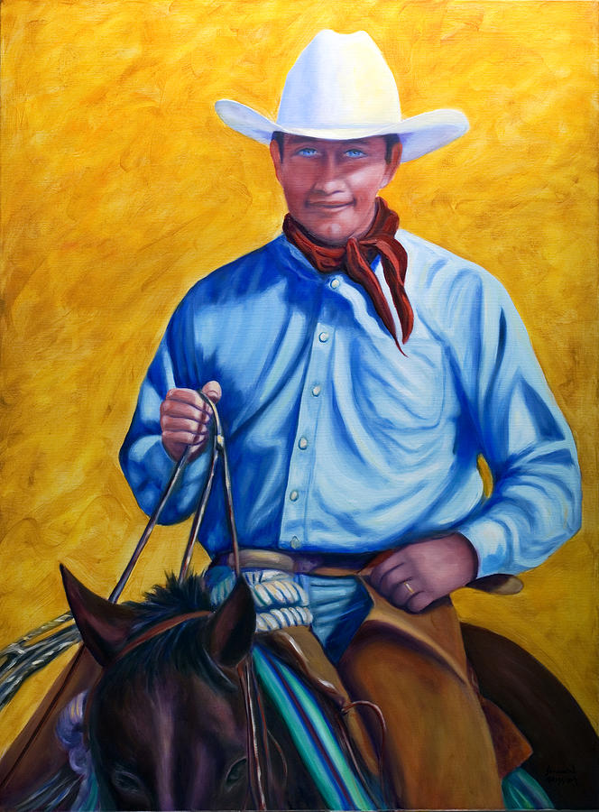 Cowboy Painting - Happy Trails by Shannon Grissom