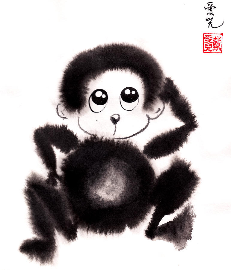 Year Of The Monkey Painting - Happy Year Of The Monkey by Oiyee At Oystudio