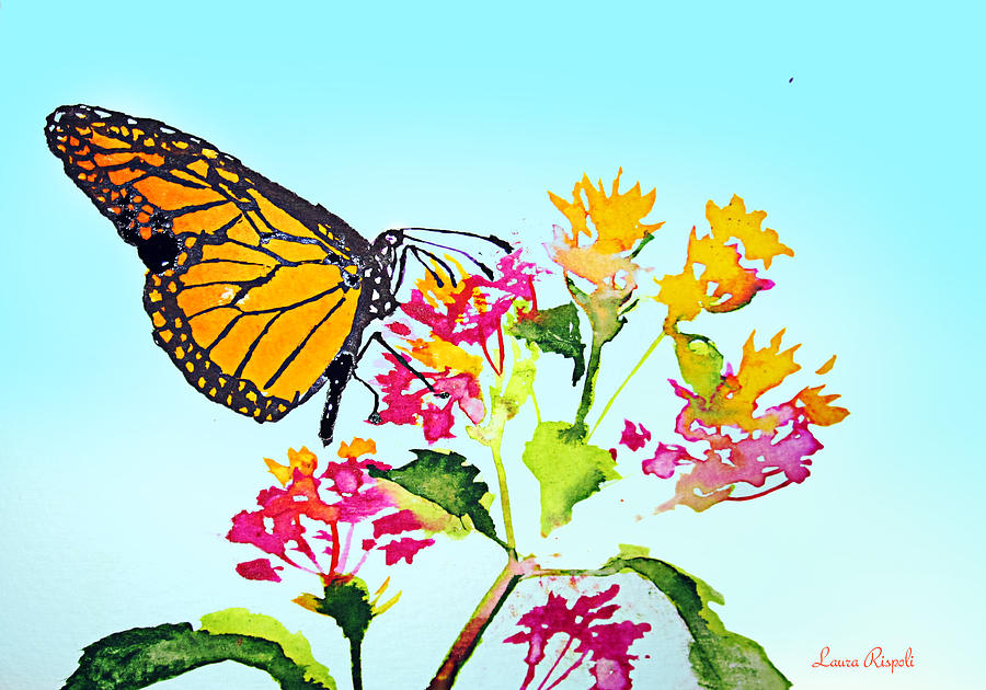 Butterfly Painting - Happy Butterfly by Laura Rispoli