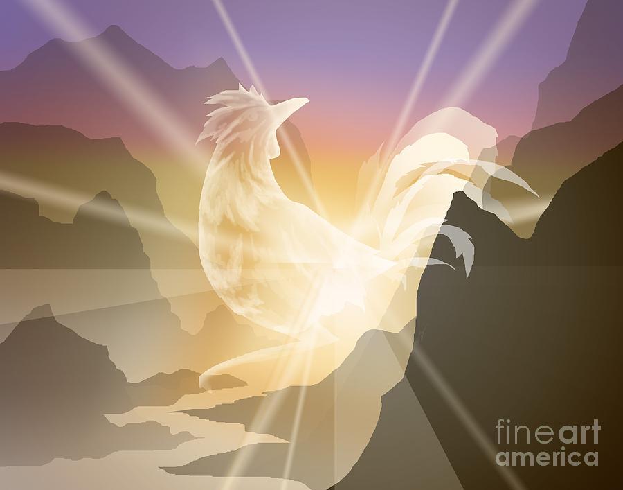 Rooster Digital Art - Harbinger Of Light by Alice Chen