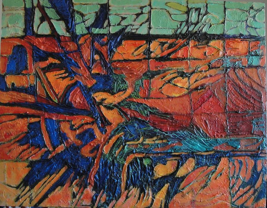 Abstract Painting - Harbingers by Bernard Goodman
