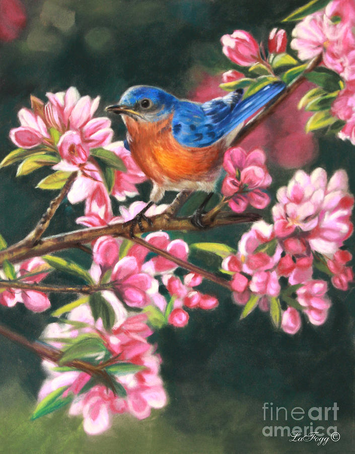Blue Bird Painting - Harbingers Of Spring by Deb LaFogg-Docherty
