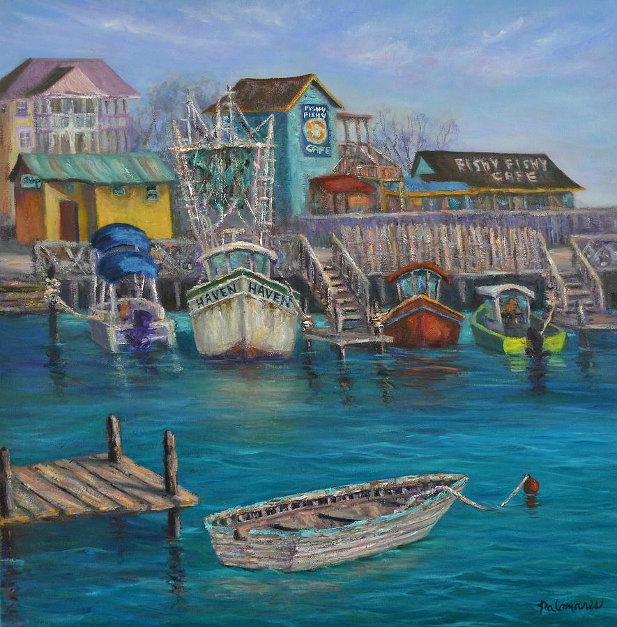 Harbor Boats Coastal Painting of Southport North Carolina by Amber Palomares