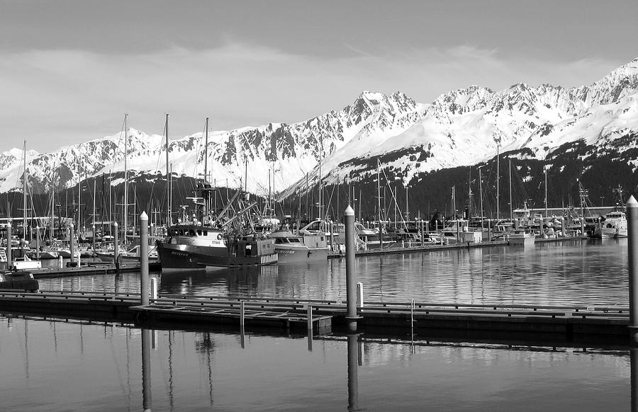 Black And White Photograph - Harbor Boats by Ty Nichols