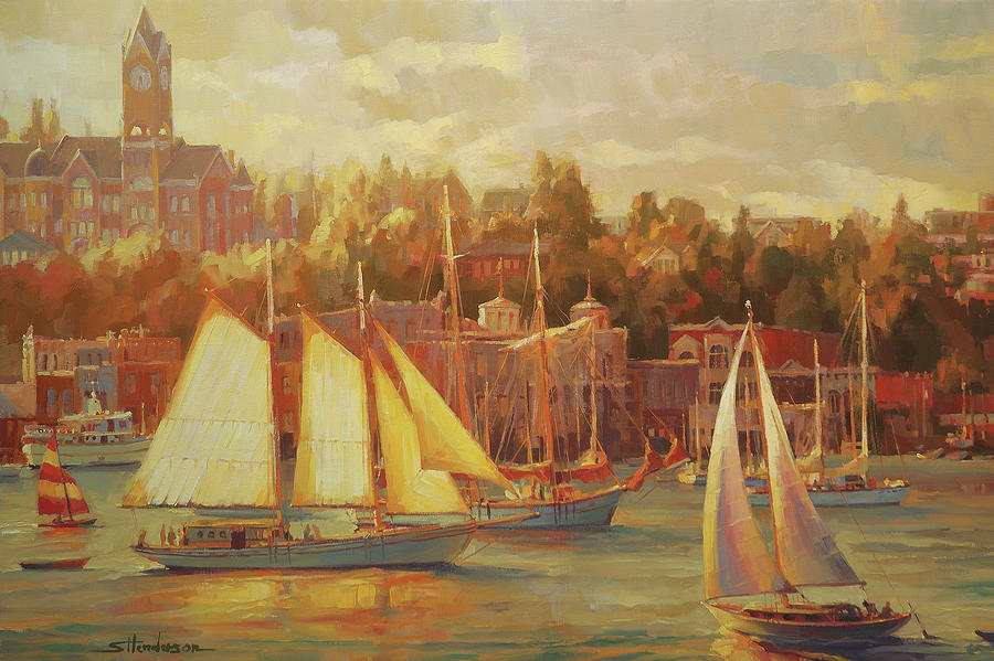 Nostalgia Painting - Harbor Faire by Steve Henderson