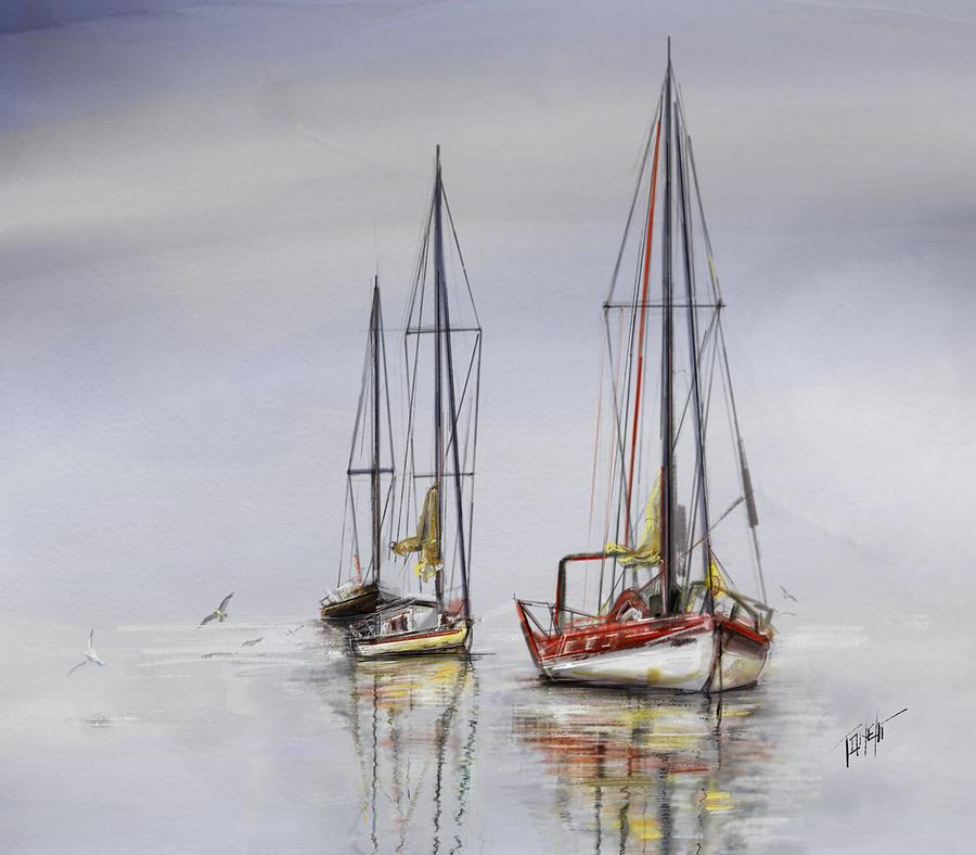 Harbor Light Sailing Mixed Media