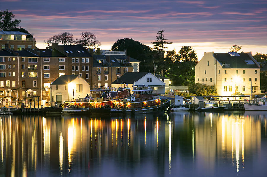 Portsmouth Harbor Photograph - Harbor Lights by Eric Gendron