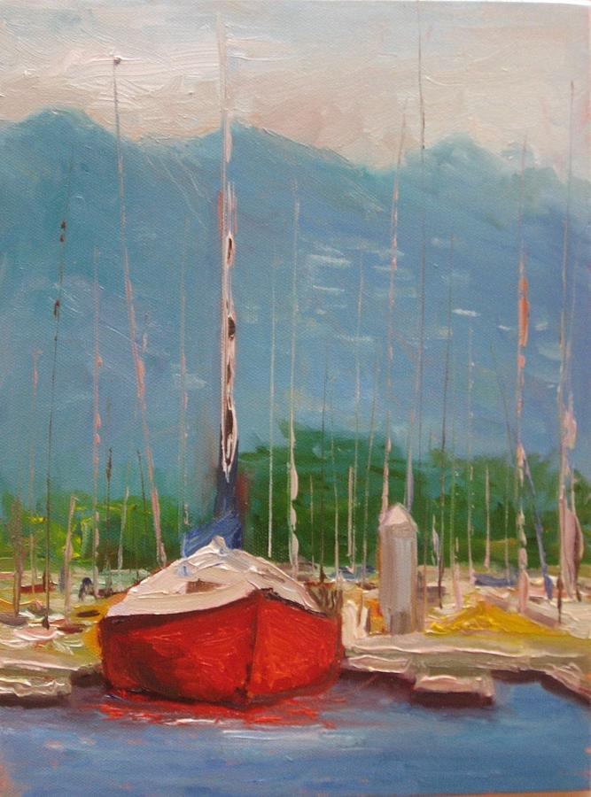 Boat Painting - Harbor Red by Thomas Phinnessee