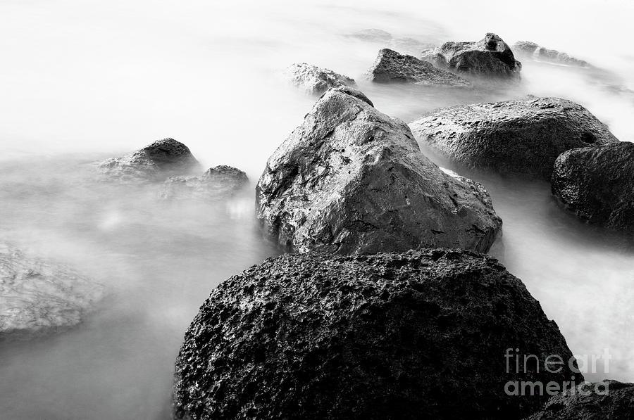Bay Photograph - Harbor Rocks And Misty Ocean II by Charmian Vistaunet