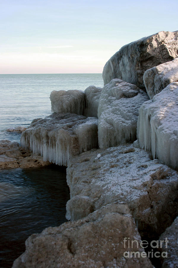 Lake Huron Photograph - Harbor Rocks In Ice by Kathy DesJardins