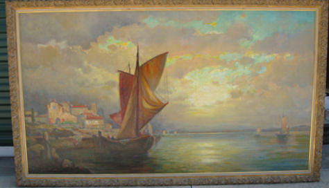 Seascape Painting - Harbor Scene by John William Orth