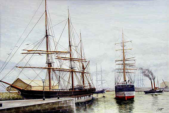 Boat Painting - Harbor Scene by Patrice Large