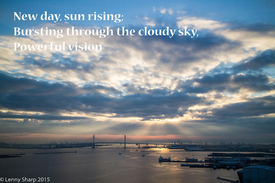 Haiku Photograph - Harbor sunrise - Haiku by Leonard Sharp