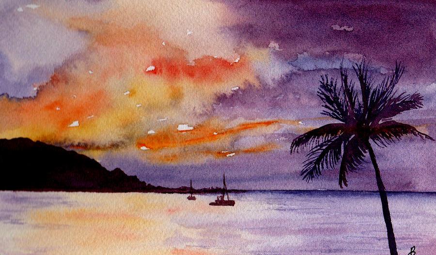Harbor Sunset Kauai Hawaii Painting By Brenda Owen