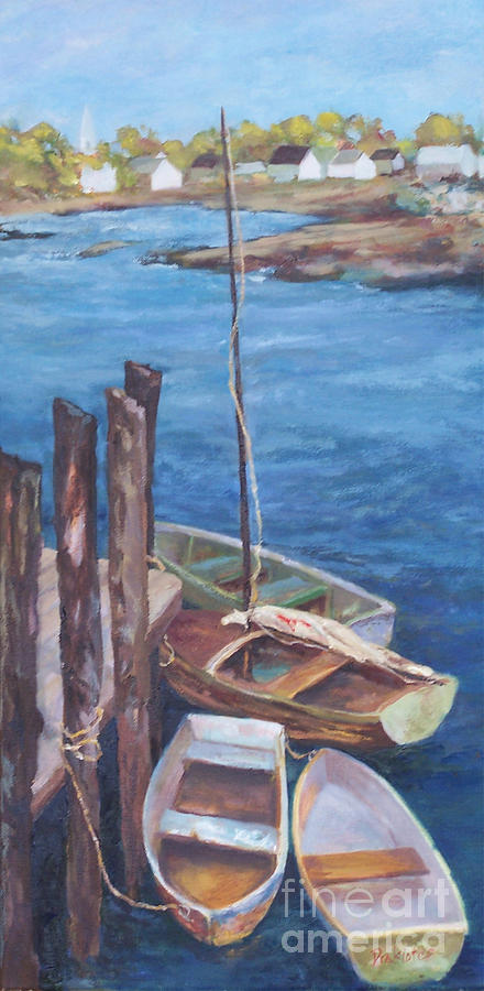Coastal Landscape Painting - Harbor View So. Freeport Wharf by Alicia Drakiotes