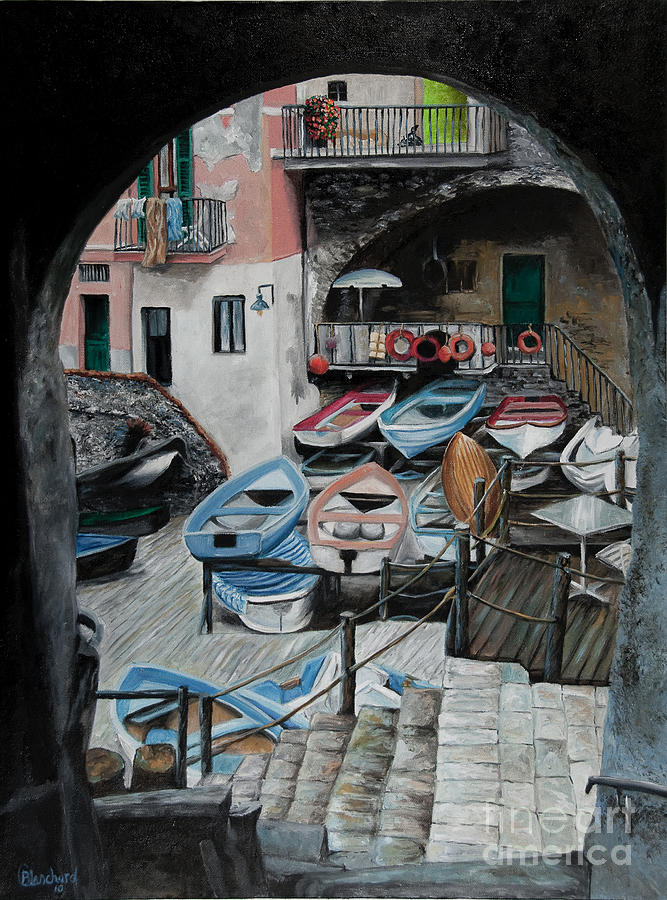 Cinque Terre Painting - Harbors Edge In Riomaggiore by Charlotte Blanchard