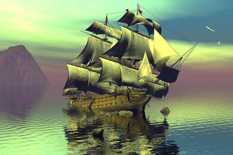 Bryce Digital Art - Hard Aground Taking On Water by Claude McCoy