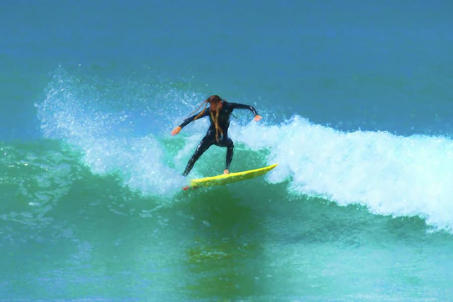 Hard Cut Dreadlocks Surfer Watercolor Digital Art