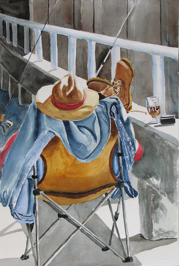 Fisherman Painting - Hard Day at Work by Libby  Cagle