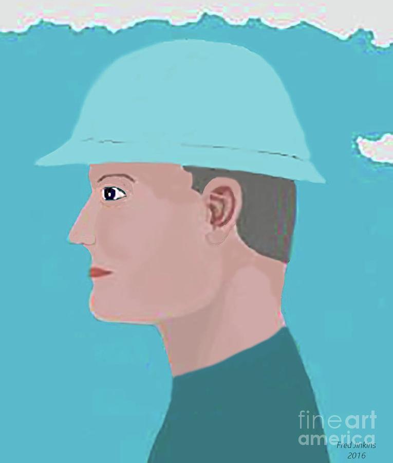 Oil Field Painting - Hard Hat Oil Field by Fred Jinkins