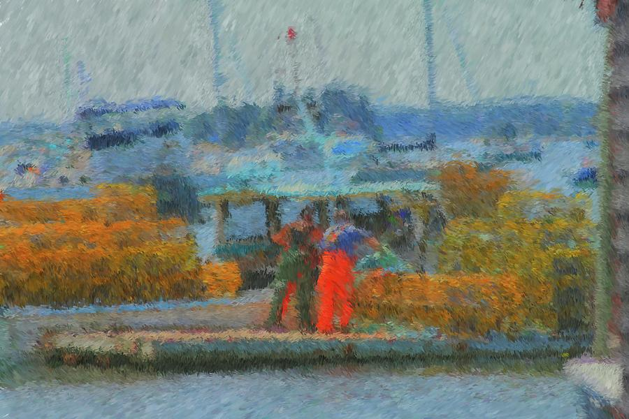 Maine Seacoast Painting - Hard Work At Lobster Dock Boothbay Harbor Maine by Viktor Arsenov