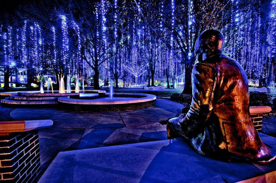 Harding University Photograph - Harding Christmas Lights Hdr by Rod Cuellar