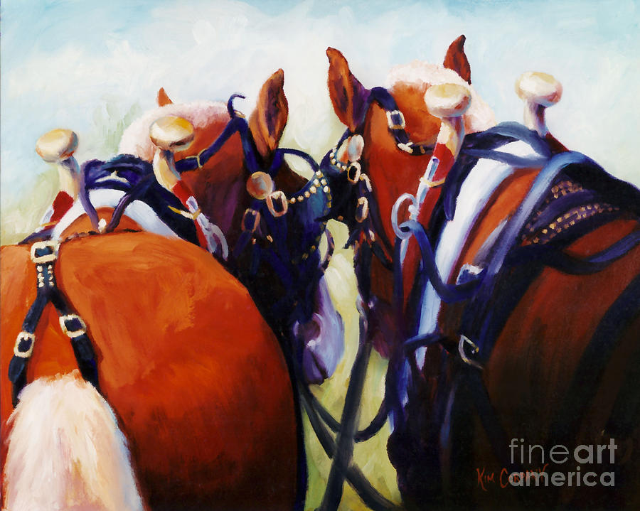 Horse Painting - Hardware Ranch Belgian Team Draft Horses Oil Painting by Kim Corpany