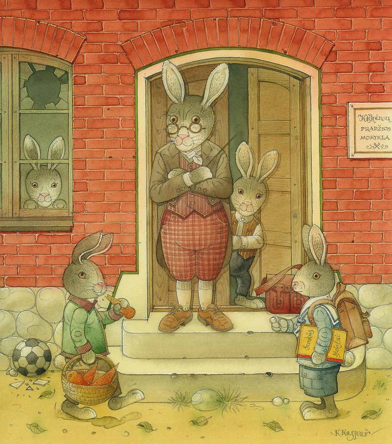 Hare School Painting by Kestutis Kasparavicius