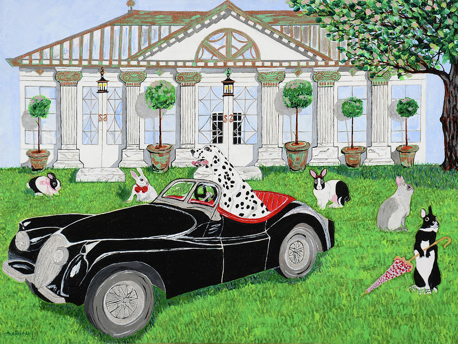 Manor House Painting - Hares And Hound by Pamela Trueblood