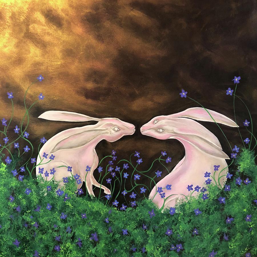 Rabbits Painting - Hares at dawn by Ron Tango Jr