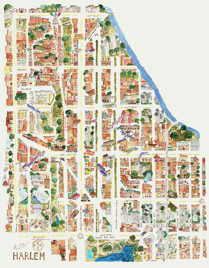 Harlem Map from 106-155th Streets by Afinelyne
