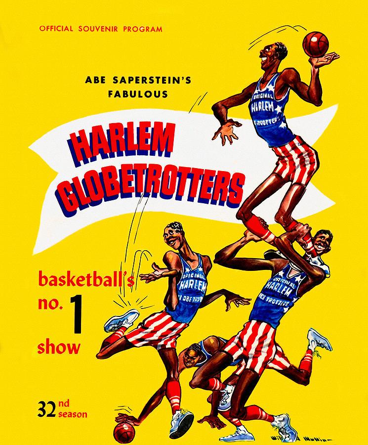 Harlem Globetrotters Painting - Harlem Globetrotters Vintage Program 32nd Season by John Farr