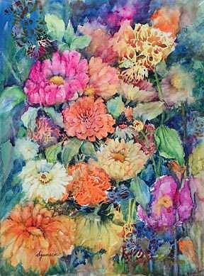Watercolor Painting - Harlequin Garden by Deborah Jansen