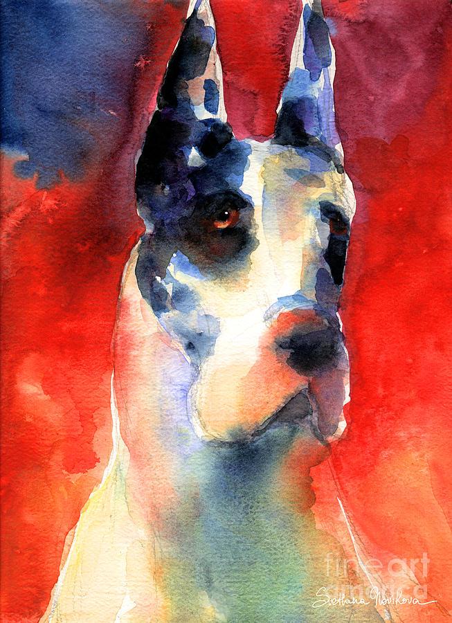 Great Dane Prints Painting - Harlequin Great Dane Watercolor Painting by Svetlana Novikova