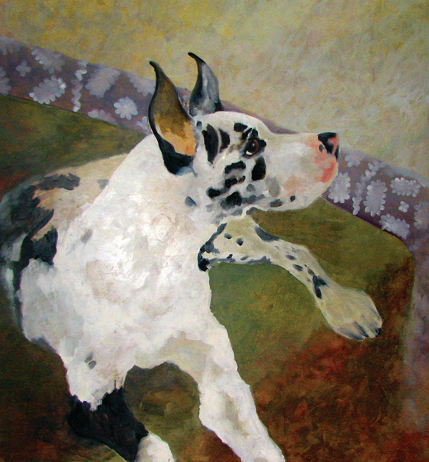 Dog Painting - Harlequin Great Dane by William Calkins