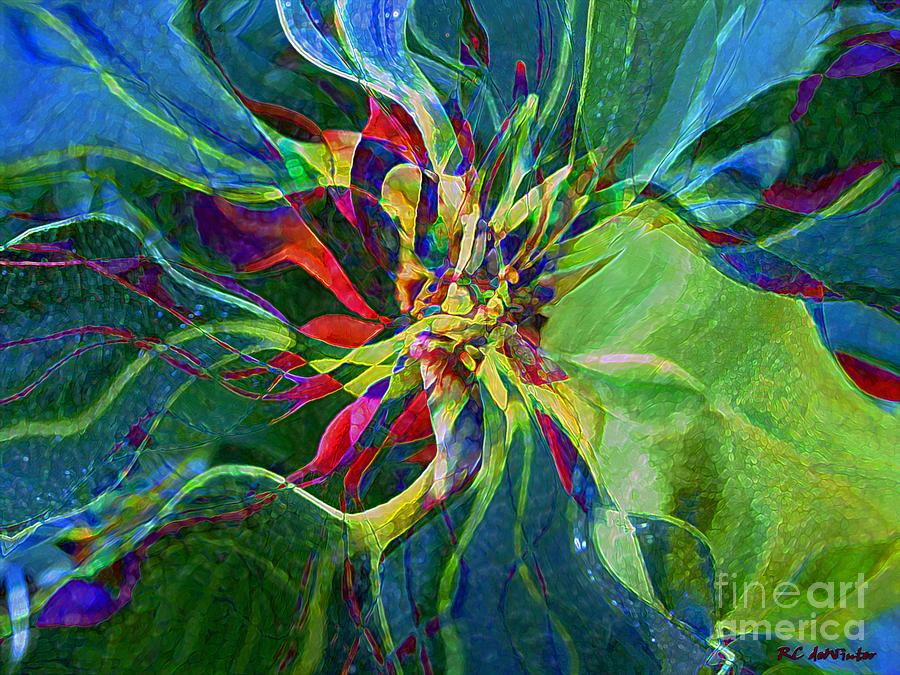 Abstract Painting - Harlequin Poinsettia by RC DeWinter